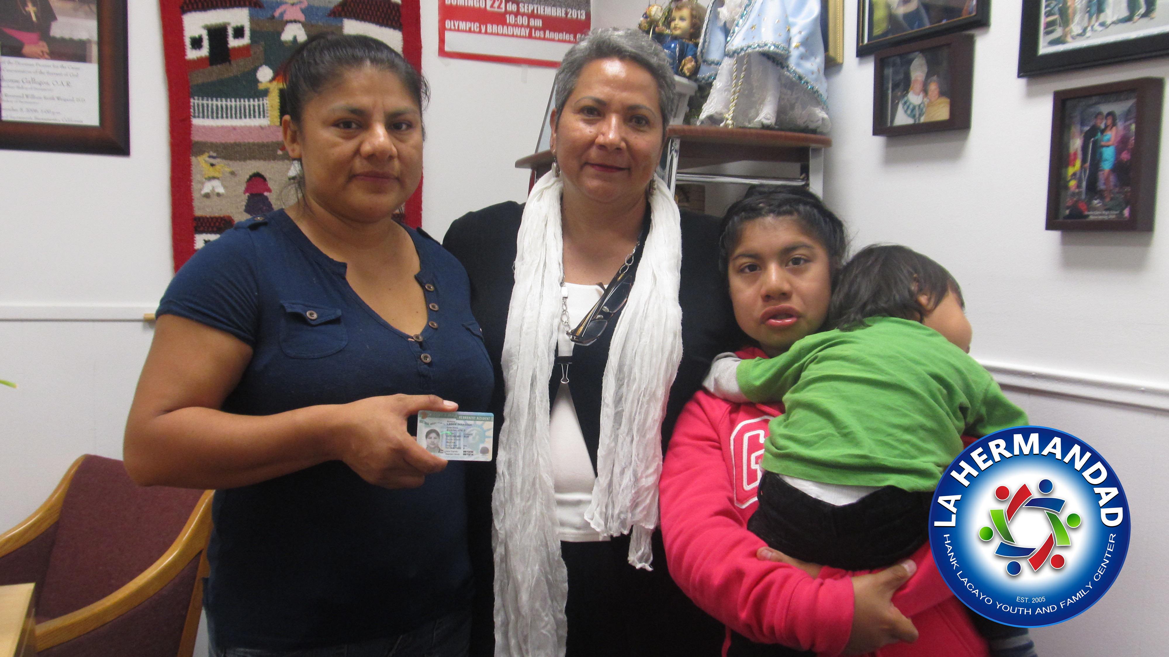 Guadalupe Larios came to La Hermandad to obtain services on U-VISA 2011. Ms Larios recently received her Permanent Resident card. withing 3 years she will be eligible to apply for her Citizenship.